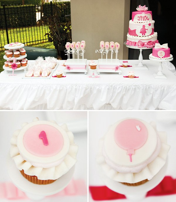 floating to one cupcakes and dessert table