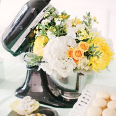 flower arrangement filled kitchenaid stand mixer