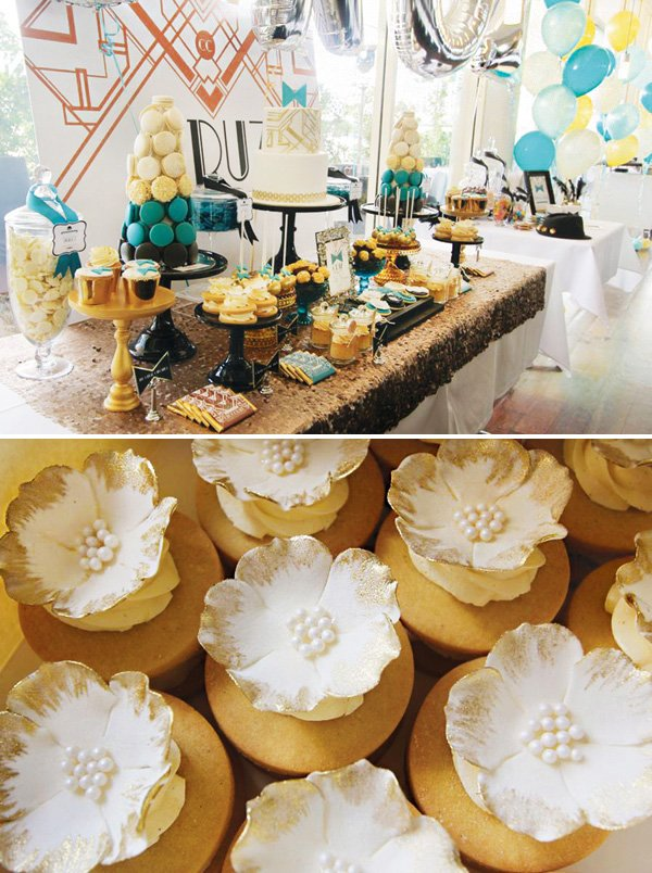 gold flower topped cookie sandwiches or cupcakes on a great gatsby dessert table