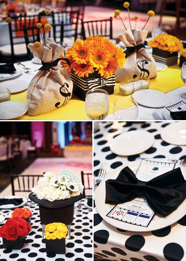formal polka dotted monopoly themed tablescape