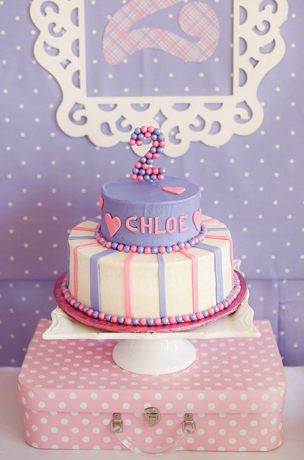 girls second birthday party cake