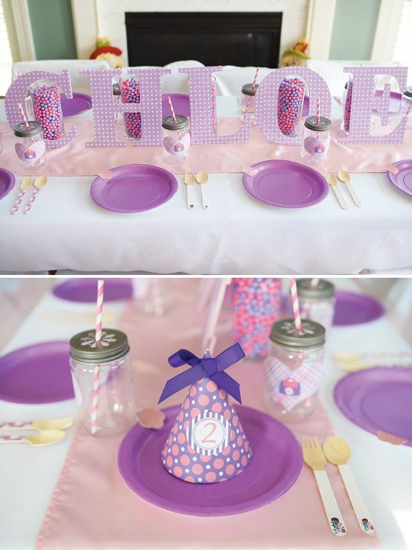 girls pink and purple birthday tablescape