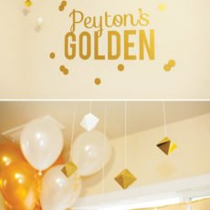kid's golden birthday party decor