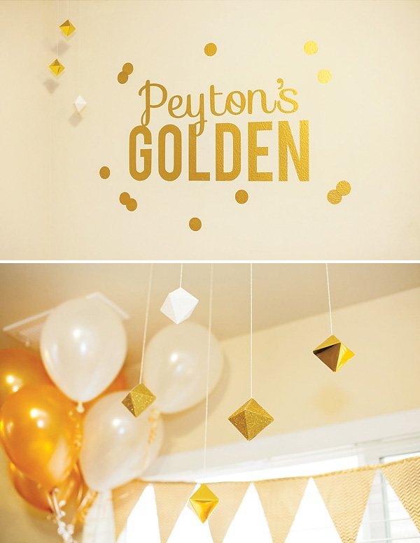 kid's golden birthday party decor