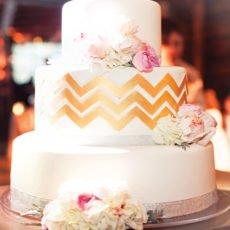 gold chevron striped wedding cake