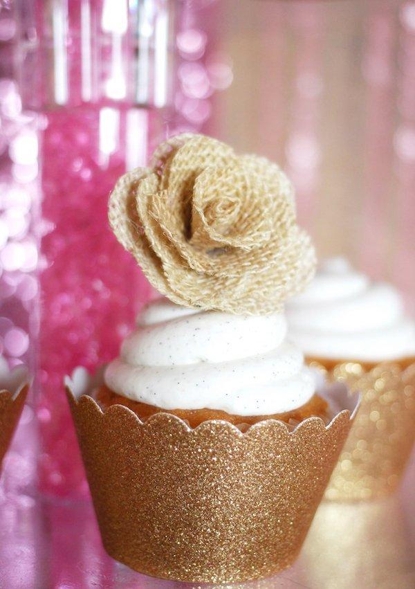 gold-cupcakes-burlap-flowers