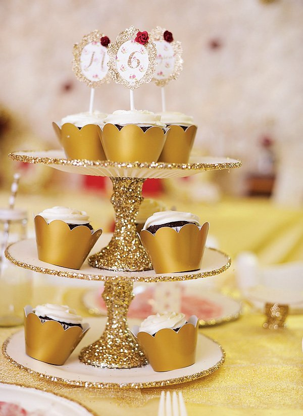 gold glitter cupcake tower stand