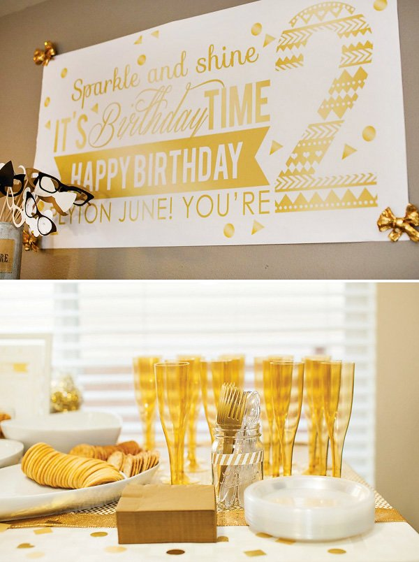 gold party printables and ideas