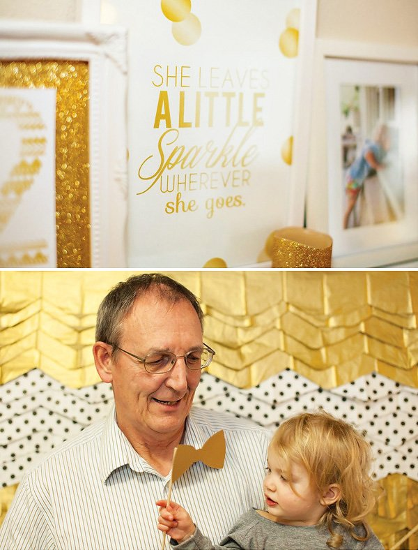 gold and polka dot photo booth