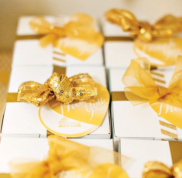 gold sequin bow topped party favor present boxes