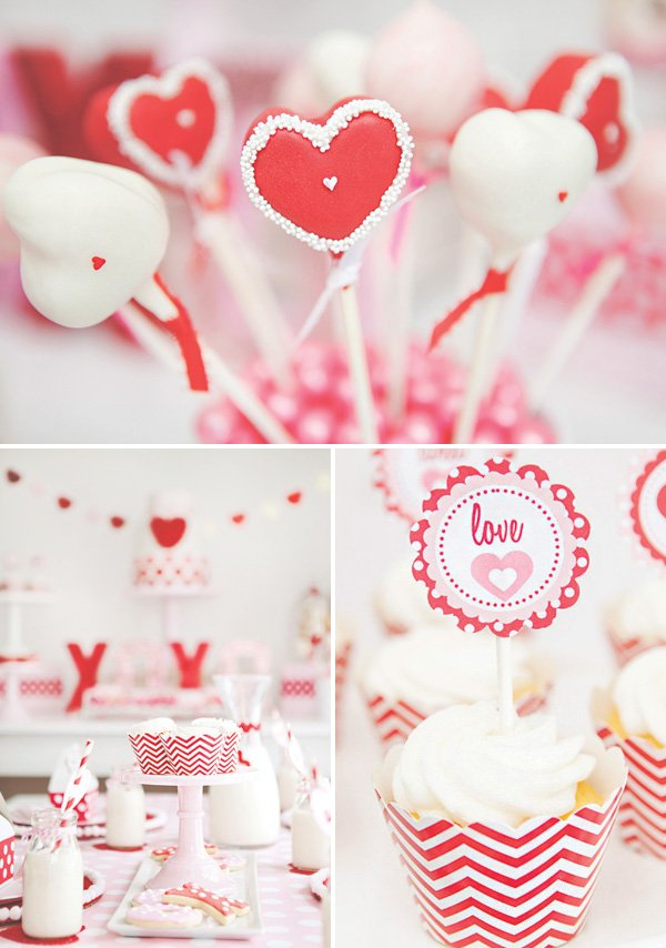 heart cake pops and chevron cupcakes
