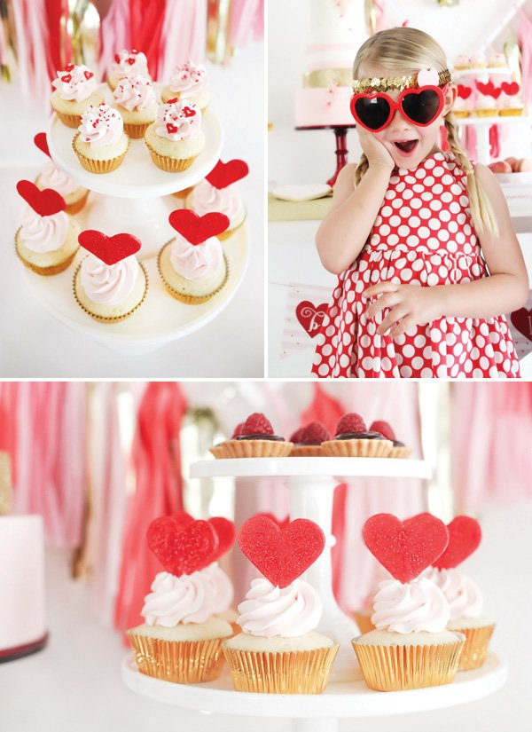 heart topped cupcakes and little girl's heart sunglasses