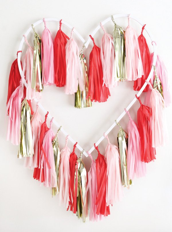 hanging tassel heart backdrop