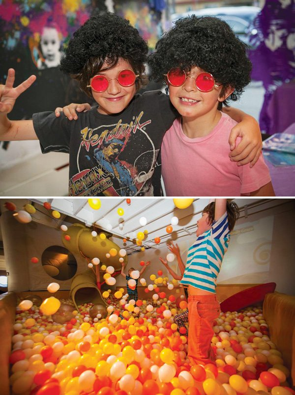 ball pit party and hippy kids costumes