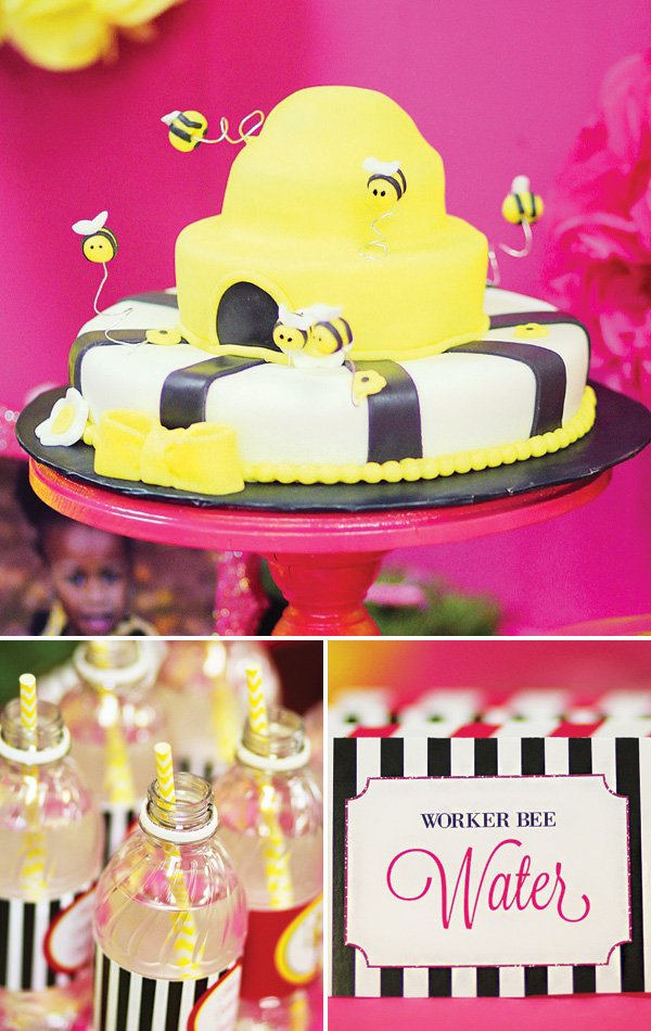 honey bee hive birthday cake and drinks