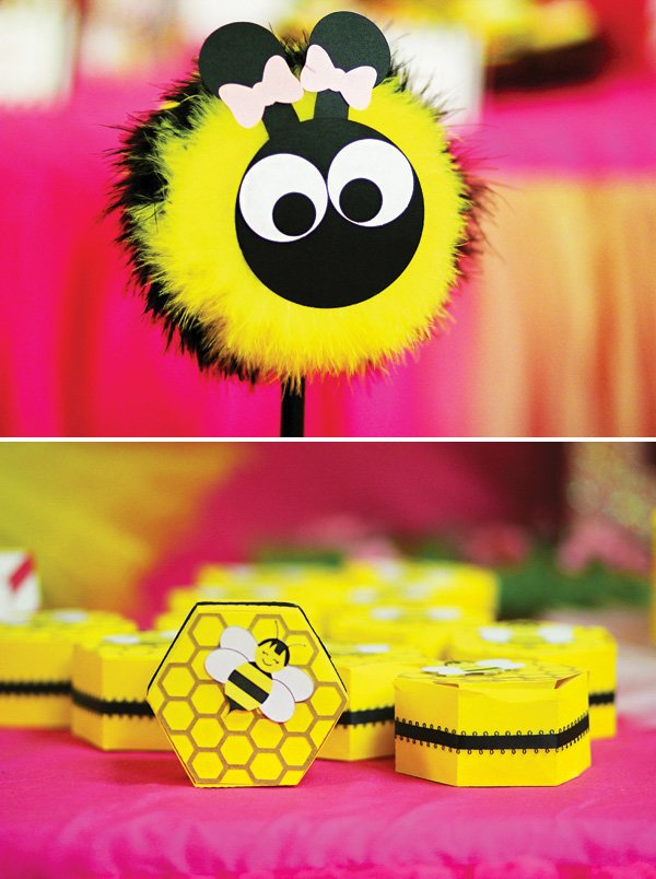 Honeycomb Party Favor Boxes And Pom Bumble Bee Brownie