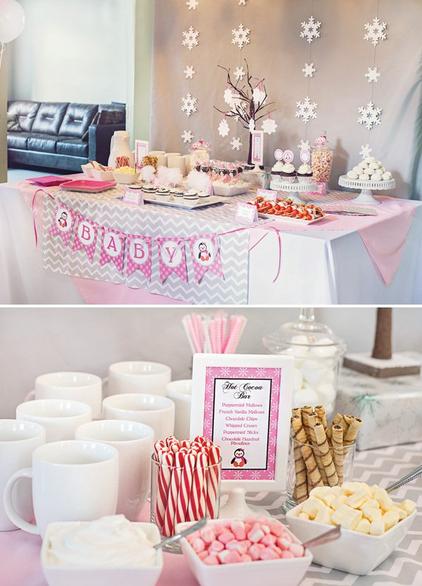 winter baby shower party hot cocoa bar