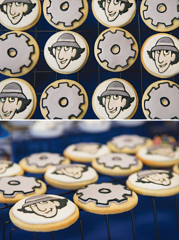 inspector gadget and gear decorated sugar cookies