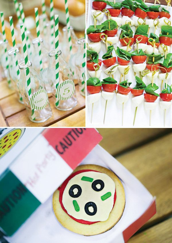 italian party foods like caprese skewers and pizza cookies