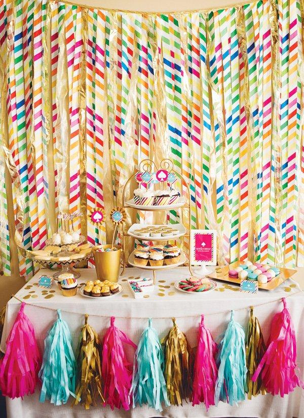 kate spade inspired baby shower dessert table
