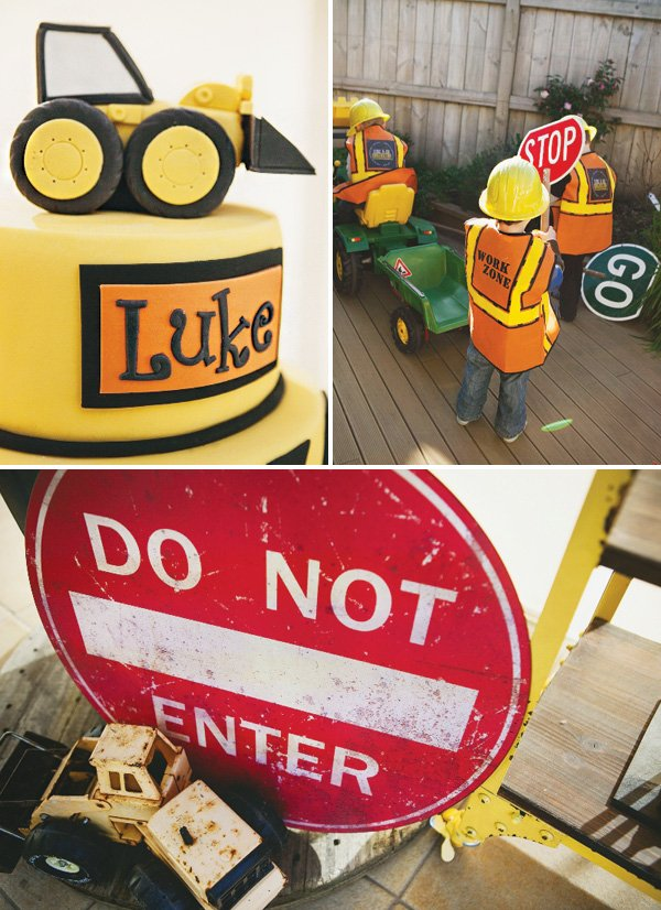 kids construction party decor and cake topper