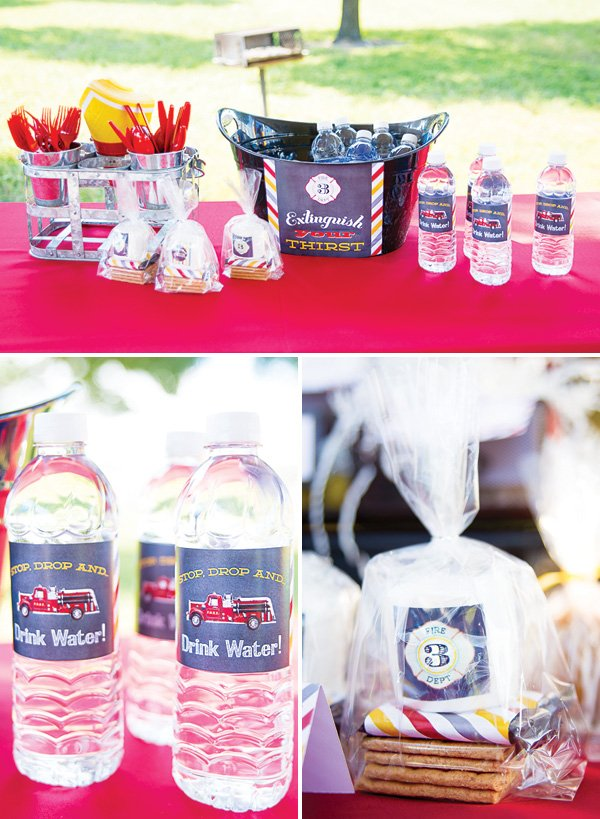 kids fireman party drinks station (extinguish your thirst!)