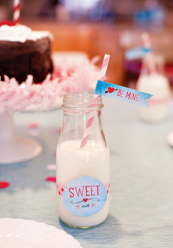 kids party milk bottle decorated for valentines day