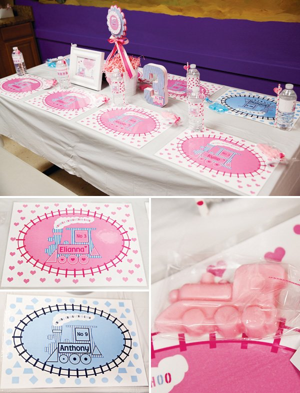 kids train party place mats