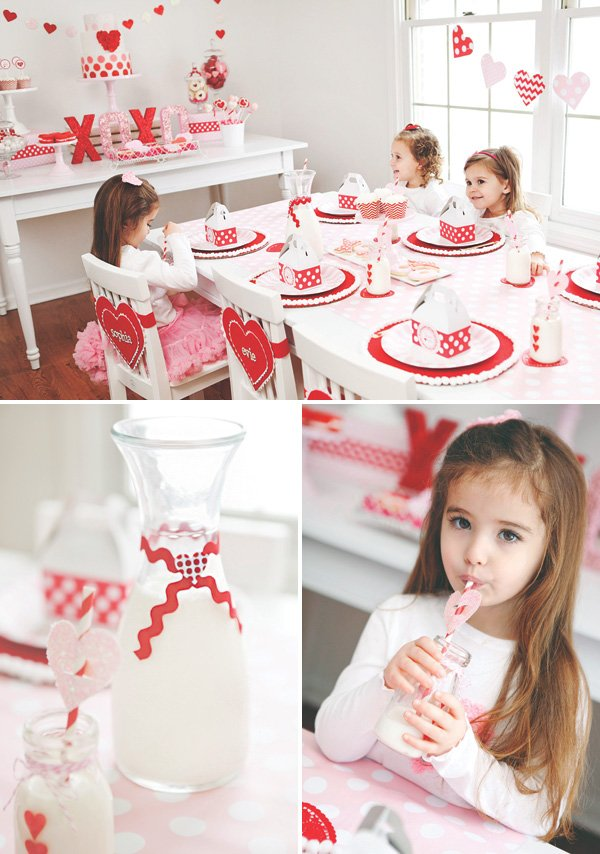 valentines day decorated milk bottles