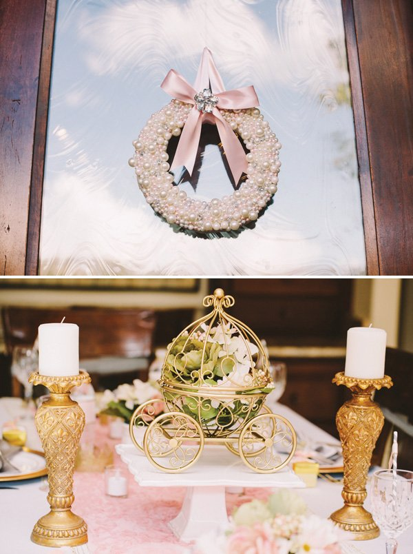 little gold carriage centerpiece filled with flowers