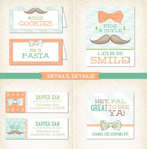 Little Man Mustache Party Printables - Printed
