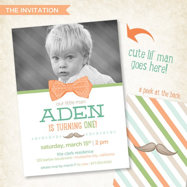 Little Man Mustache First Birthday Party Invitation