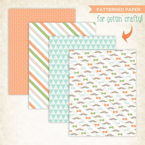Mustache Party Patterned Paper for Crafts