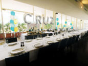 long table and big balloons for a party