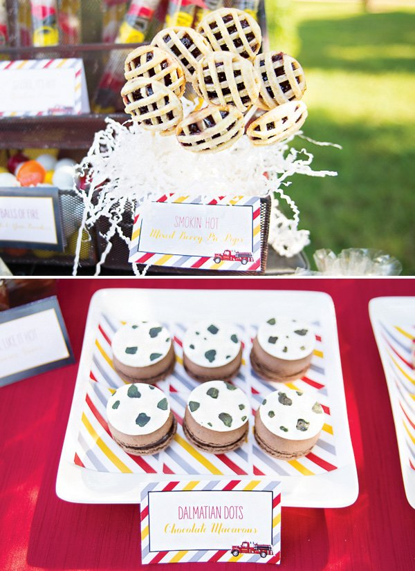 mini pie pops and spotted macarons