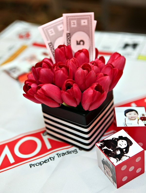 modern red tulip centerpiece