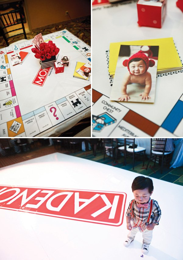 monopoly board table linen and party ideas