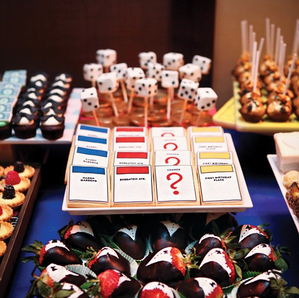 monopoly game card cookies and chocolate dipped tuxedo strawberries