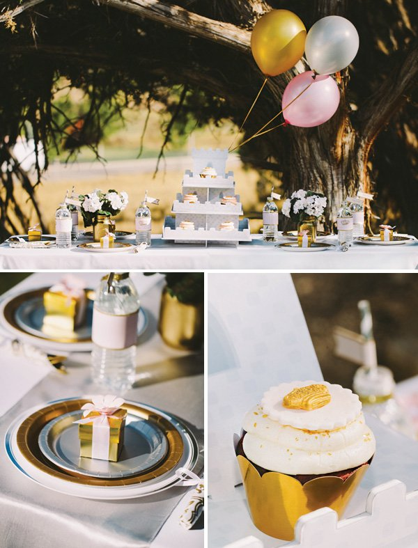 outdoor tablescape with pink and gold decor