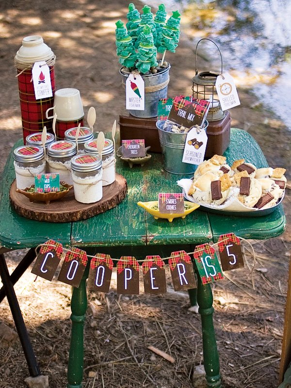 outdoors inspired camping desserts table