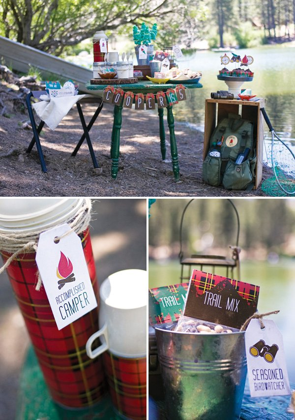 outdoorsman party dessert table and thermos
