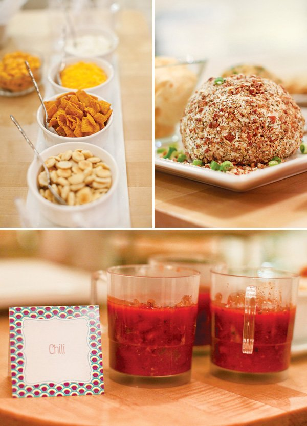 individual party foods like soup and a cheese ball