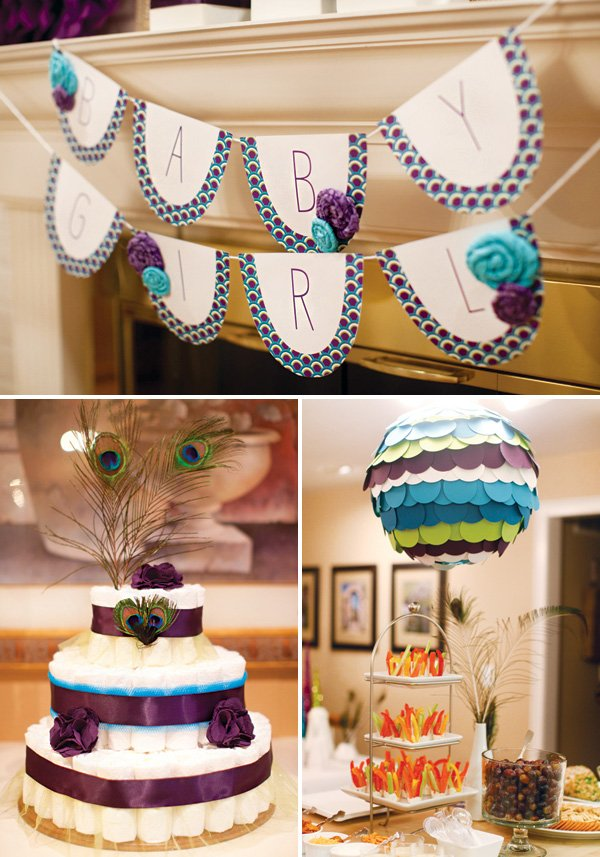 blue, green and purple peacock themed baby shower decor