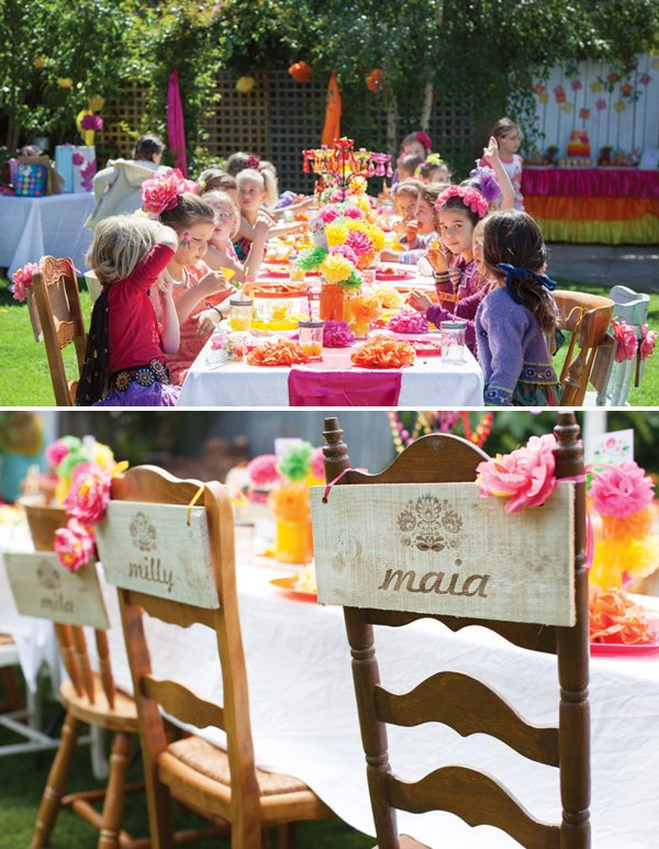 personalized wooden chair backs and kids party table