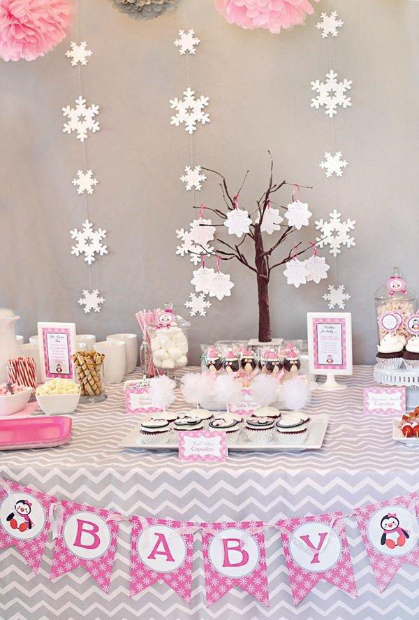 Cozy Pink Penguin Winter Wonderland Baby Shower Hostess With The