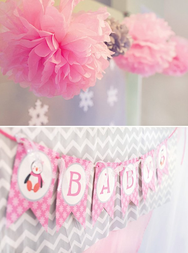 Cozy pink penguin winter wonderland baby shower hostess for Baby shower decoration blog