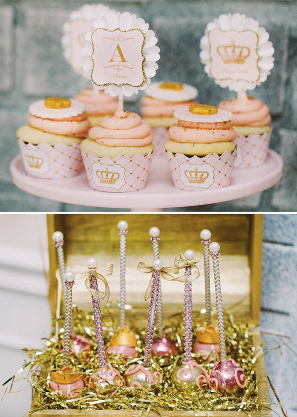 pink and gold cupcakes and cake pops