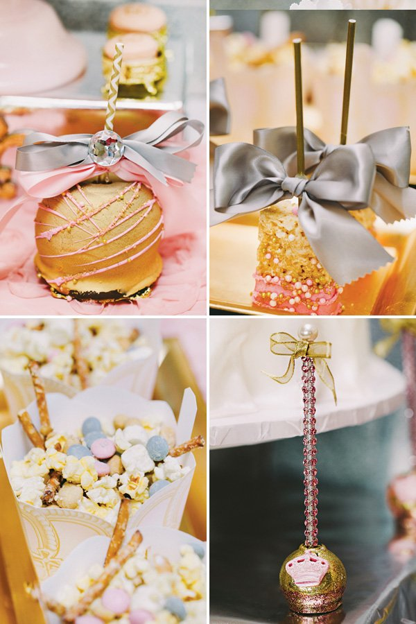 pink and gold royal party desserts
