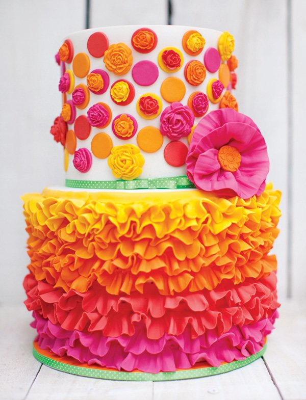 pink, orange and yellow ruffles and flowers fiesta cake
