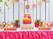 pink, orange and yellow dessert table
